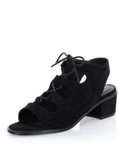 Teens Black Ghillie Block Heels  | New Look