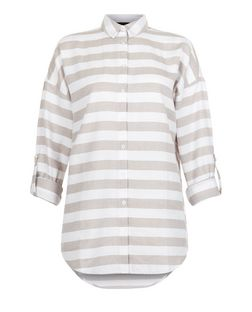 White Stripe Drop Arm Roll Sleeve Shirt  | New Look