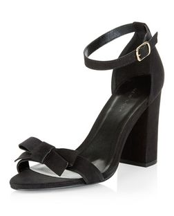 Black Suedette Bow Block Heel Sandals  | New Look
