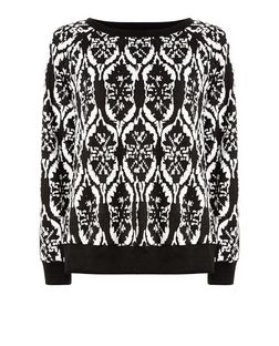 Madam Rage Black Abstract Print Jumper  | New Look