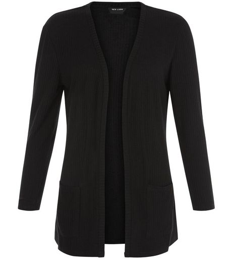 Teens Black Ribbed Longline Cardigan | New Look
