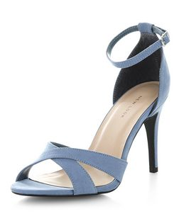Pale Blue Suedette Cross Strap Heels  | New Look