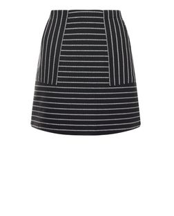 Black Stripe A-Line Skirt  | New Look
