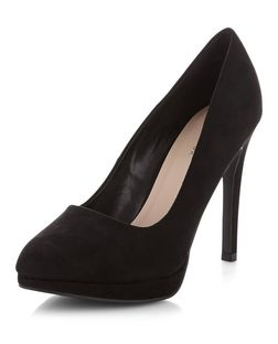 Black Suedette Pointed Court Shoes  | New Look