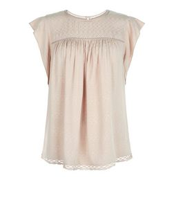Light Brown Aztec Jacquard Ruffle Sleeve Top | New Look