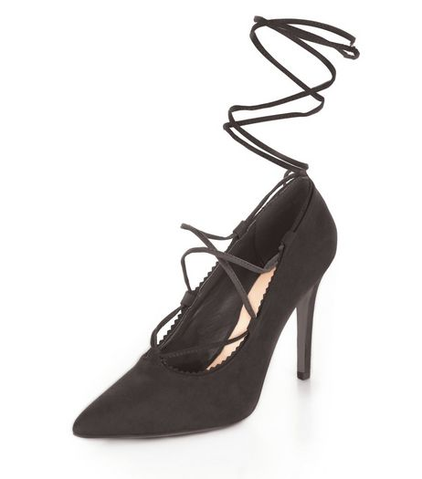 Black Pointed Ghillie Heels  | New Look