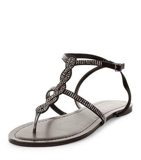 Black Suedette Twist T-Bar Sandals  | New Look