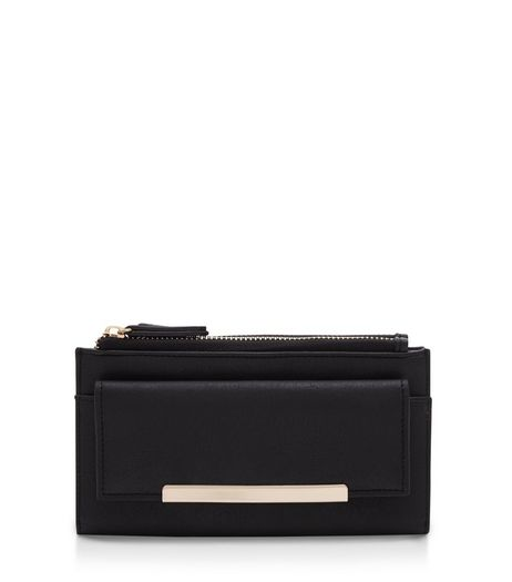Black Double Zip Pocket Fold Over Purse  | New Look