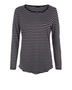 Black Stripe Crew Neck Long Sleeve Top  | New Look