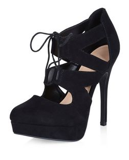Black Suedette Platform Ghillie Heels  | New Look