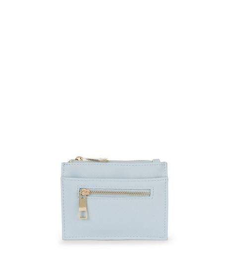 Pale Blue Leather-Look Zip Top Card Holder | New Look
