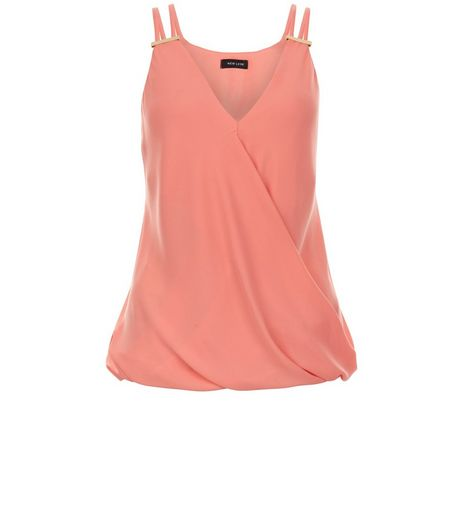 Pink Metal Bar Wrap Front Cami  | New Look