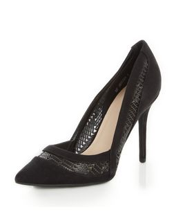 Black Suedette Woven Panel Pointed Heels  | New Look