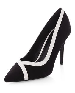 Monochrome Suedette Contrast Trim Pointed Court Shoes  | New Look