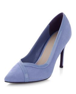 Pale Blue Suedette Contrast Trim Pointed Court Shoes  | New Look