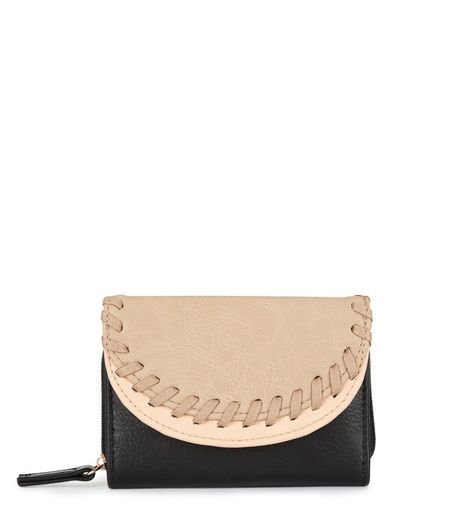 Black Contrast Double Flap Stitch Trim Purse  | New Look