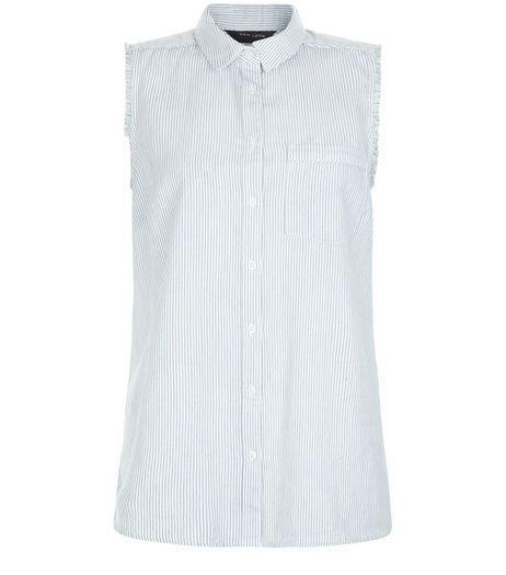 White Stripe Single Pocket Fray Trim Sleeveless Shirt  | New Look