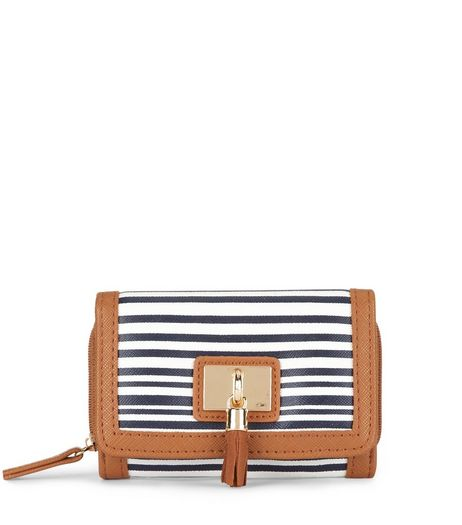 Blue Stripe Tassel Front Purse  | New Look