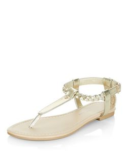Teens Gold Plaited Strap Sandals | New Look