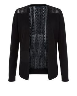 Black Lace Panel Cardigan  | New Look