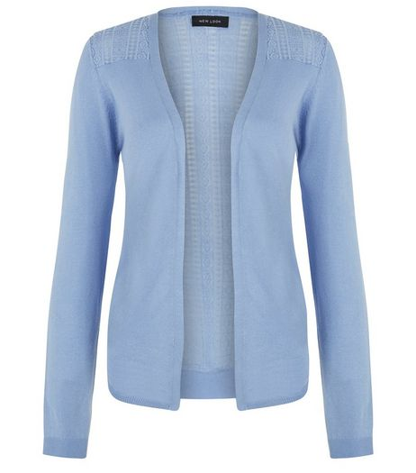 Pale Blue Lace Panel Cardigan | New Look
