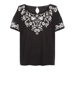 Black Embroidered Cold Shoulder T-Shirt  | New Look