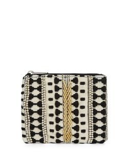 Black Aztec Beaded Zip Top Coin Purse  | New Look