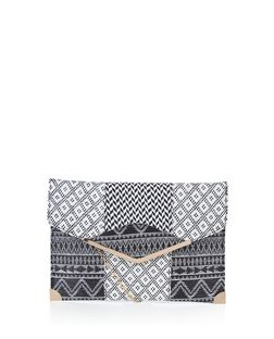 Black Woven Metal Trim Clutch  | New Look