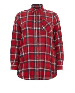Plus Size Red Check Single Pocket Long Sleeve Shirt  | New Look