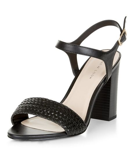 Black Leather-Look Woven Sandals | New Look