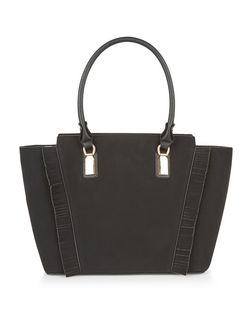 Black Fringe Trim Tote Bag | New Look