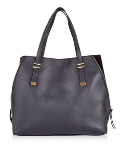 Black Zip Side Shopper Bag | New Look