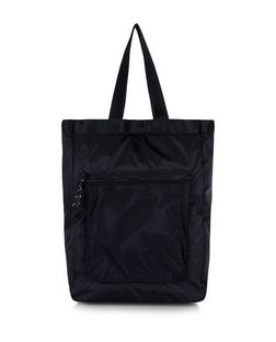 Black Mesh Pocket Front Shopper Bag  | New Look