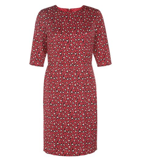 Poppy Lux Burgundy Leopard Print Dress | New Look