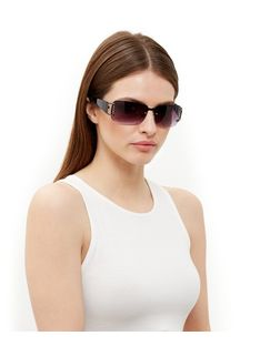 Black Embellished Rectangle Sunglasses | New Look