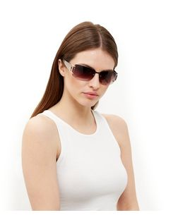 Brown Embellished Rectangle Sunglasses | New Look
