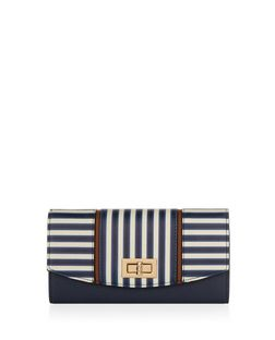 Navy Stripe Twist Lock Purse  | New Look