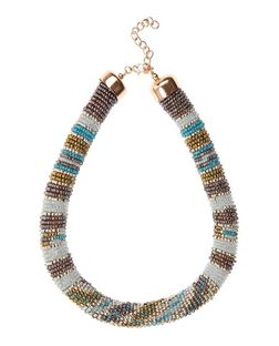 Blue and Brown Stripe Beaded Necklace | New Look