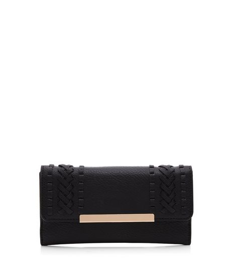 Black Woven Stitch Trim Purse  | New Look