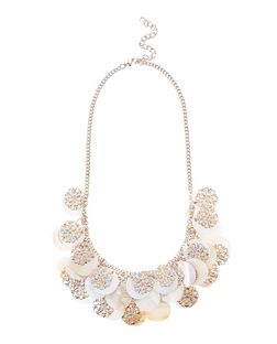 Cream Shell and Filigree Disc Necklace  | New Look