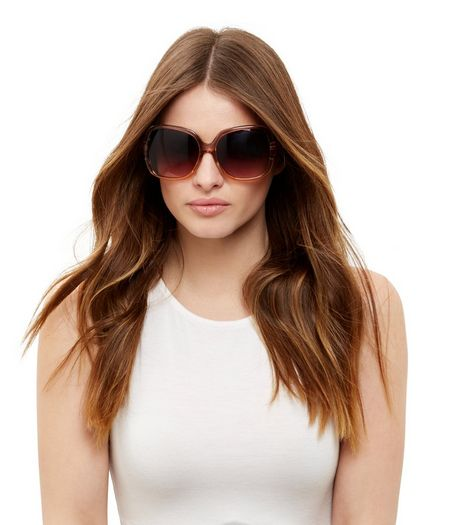 Mink Oversized Rectangle Sunglasses  | New Look