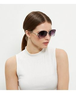 Black Side Rectangle Sunglasses | New Look