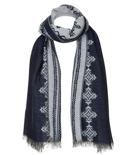 Navy Abstract Print Jacquard Scarf | New Look
