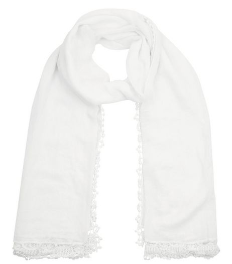 Cream Crochet Trim Longline Scarf | New Look