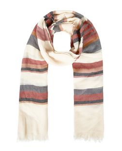 Cream Stripe Longline Fringed Scarf  | New Look