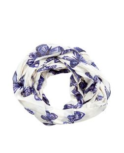 White Butterfly Print Snood | New Look