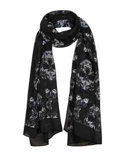 Black Skull Print Scarf  | New Look
