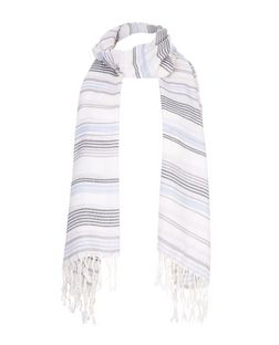 Blue Stripe Fringed Scarf  | New Look