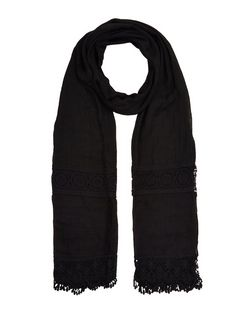 Black Crochet Trim Longline Scarf  | New Look