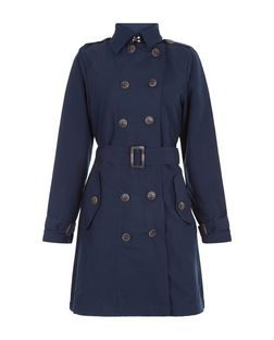 Brave Soul Navy Belted Trench Coat | New Look